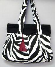 Black White Zebra Stripe Shoulder Bag Purse Cotton Handmade Tote Handbag Gift