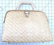 Vanessa for Fashion Imports Vintage Basket Woven Straw Hard Purse Handbag Purse