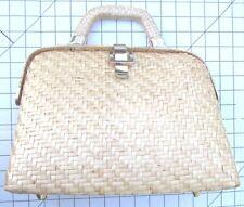 Vanessa for Fashion Imports Vintage Basket Woven Straw Hard Purse Handbag Purse