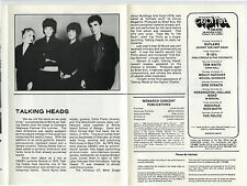 Talking Heads Authentic 1980 One-show only Concert Program