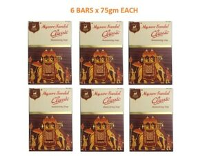 Mysore Sandal Classic Moisturizing Soap 75gm- Soft and Smooth skin- Pack of 6