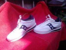 Saucony Blanco/Azul Marino Cuero Retro de Moda Zapatos deportivos Zapatillas Nuevo Y En Caja Uk 8/42.5