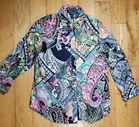 LAUREN Ralph Lauren Cotton Paisley Button Shirt 3/4 Slve Pink Blk Multi Size PS