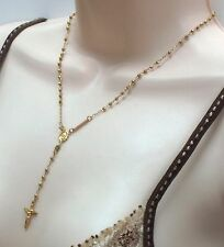 """New 14k Yellow Gold Rosary 3mm Faceted Bead Guadalupe Necklace Chain Rosario 17"""""""