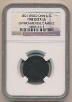 1804 Draped Bust Half Cent. Spiked Chin. NGC Fine Details