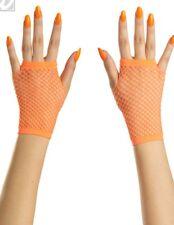 Neon Orange Fingerless Fishnet Wrist Gloves Raver Stretchy  Punk Lolita Goth