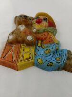 "Vintage Clown Wall Decor With Teddy Bear And ABC Block Kids decor 7"""