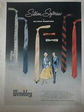 1958 Mens Wembley All Silk Shantung Mens Neckties Ties Original Color Fashion Ad