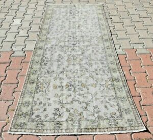Anatolian Home Decor Wool Hand Knotted Vintage Rug 3x7 Ft Gray Rugs