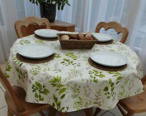 140cm Round Wipe Clean PVC Tablecloth - Herb Garden - 4 Seater