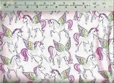 Timeless Treasures ~ Unicorns Pegasus Metallic ~ 100% Cotton Quilt Fabric Bty