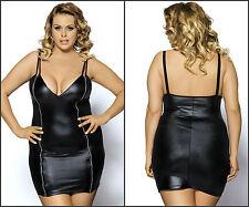 New Sexy Black Faux Leather Look Women's Party Clubbing Mini Dress Plus Size