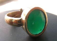 HANDMADE  BRASS GEMSTONE RING IN GREEN EMERALD SIZE ADJUSTABLE    UK12