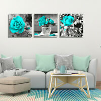 3PCS Painting Cyan Rose Flower Wall Art Pictures Home Living Room Decor 30X30cm