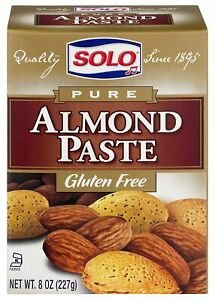 4 Pack, Solo Pure Almond Paste 8 oz (227gr) Gluten Free, Best By: 10/2021+