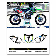2012-2015 KAWASAKI KXF 450 Team Issue Dirt Bike Graphics Custom Number Plates