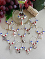Honoring Firemen & Policemen 12 Wine Glass Charms ~ 25% Donated to 9/11 Charity.