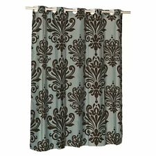 """Carnation EZ-ON® """"Beacon Hill"""" Polyester Shower Curtain in Chocolate on Spa Blue"""