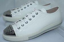 NUEVO Miu Miu Moda Para Mujer Zapatillas Blanco Zapatos Talla 39 Calzature Donna