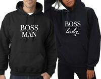 Boss Man Boss Lady Couple Matching Hoodie Hoody Hood LOVE Wedding Gift Present