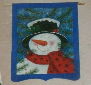 Evergreen Silk Reflections #13454 FROSTY the Snowman DECORATIVE FLAG Winter NEW