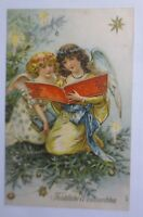 Christmas, Angel, Book, Stars, Candles, 1907, Embossed Postcard (65449)