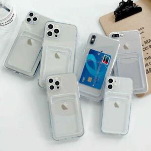 Silicone Case Gel Cover With Card Slot For iPhone 12 11 PRO XS  X 8 7 Mini UK