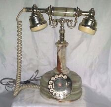 Rotary Telephone Vintage  MARBLE ALABASTER ! Works ! New Jack Phone By Onyx