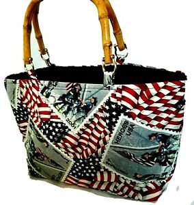 American Patriotic Heroes USA Tote w/Double Wood Handles 4th of July Bag Purse