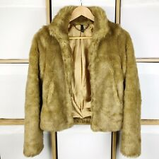 H&M Brown Super Soft Faux Fur Jacket Size 8 Excellent Condition
