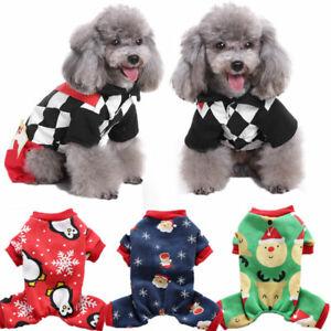 Xmas Small Pet Dog Jumpsuit Clothes Santa Poker Jacket Puppy Cat Coat Costumes
