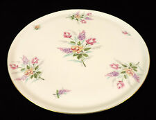 "Royal Limoges 14"" HP serving platter pink yellow purple flowers gold trim France"