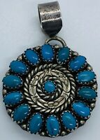 Vintage MICHAEL VALITUTTI Navajo Sterling High Grade Blue Turquoise Pendant/Pin