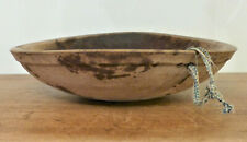 ANTIQUE 19th C PA WOODEN TURNED Dough BOWL Deep Rim OUT OF ROUND Dry Patina