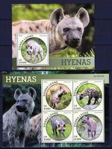 SIERRA LEONE 2016 HYENAS WILD ANIMALS FAUNA AFRICA STAMPS MNH**