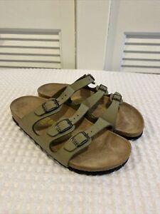 Birkenstock 240 Sandals Slides Green Leather  - Sz 37 - L6 M4