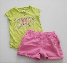 CARHARTT Outfit 18 months Pink Shorts and Horse Farm Barn Graphic Tee EUC