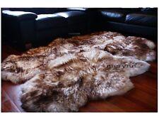 White Brown Quad 4 Sheepskin Rug Carpet Soft Natural Wool Large