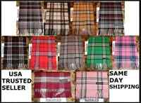 72X12 LONG CASHMERE WINTER SCARF Tartan Nova Check Plaid Scotland Soft WARM Wool