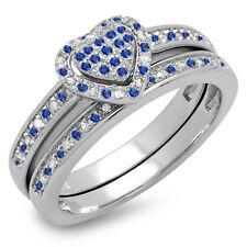Sterling Silver Sapphire & White Diamond Heart Shaped Bridal Ring Set (Size 5.5)
