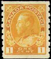 Canada #126b mint VF OG VLH 1923 King George V 1c  orange yellow Admiral Coil