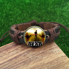 Zombie The Walking Dead Brown Glass leather & chord Bracelet charm -unisex