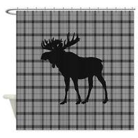 CafePress Moose: Grey Plaid Shower Curtain (2012803358)