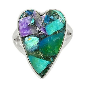 Heart - Charoite In Chrysocolla 925 Sterling Silver Jewelry Ring s.7 ALLR-1559