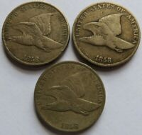 Three 1858 Flying Eagle Cents - F/VF/XF Details, Vintage. Reeded Edge Visible