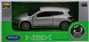 WELLY VW VOLKSWAGEN SCIROCCO SILVER 1:34 DIE CAST METAL MODEL NEW IN BOX