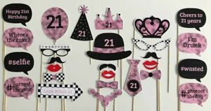 27 Piece Photo Booth Prop Set - Pink 21st Birthday Party - Aust Made