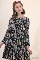 S M L UMGEE BLACK FLORAL Pleated BABYDOLL Swing Dress/Tunic SASSY SKY