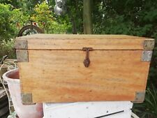 WW1 Royal Navy Munitions Chest Stripped Ash Wooden Storage Box