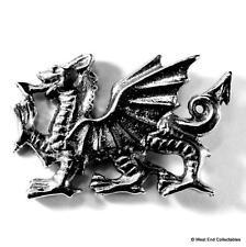 Welsh Dragon Pewter Pin Brooch Badge -UK Made- Wales Cymru Y Ddraig Goch